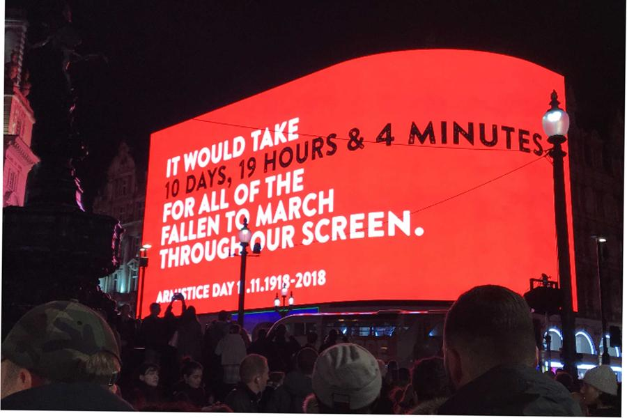 Armistice Centenary honoured in Piccadilly Circus